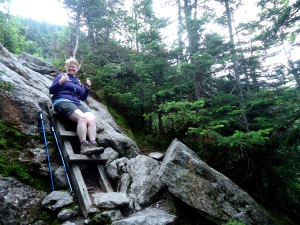 Sliding down the mountain on the Ammonoosuc Ravine Trail