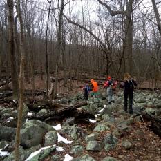 First rocky stream crossing
