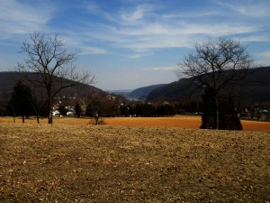 Looking down into Harper's Ferry from Bolivar Heights.  Maryland Heights on the left, Loudon Heights on Right.