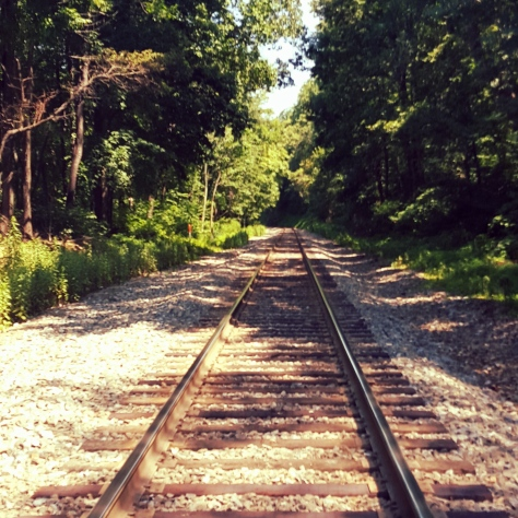 Soon after stepped across Railroad Tracks